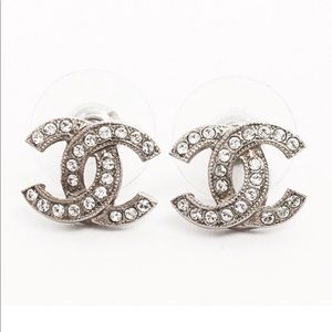 CHANEL Jewelry - CHANEL Classic Silver Rhinestone CC Stud Earrings